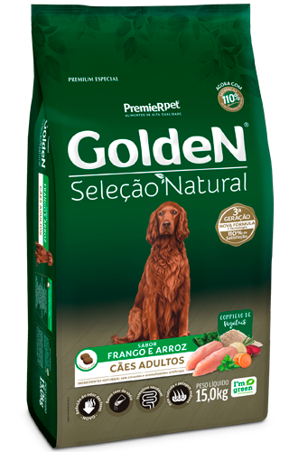 GoldeN Seleção Natural Cães Adultos Sabor Frango & Arroz